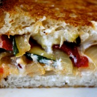 Meatless Monday: Roasted Red Pepper, Veggie and Goat Cheese Panini