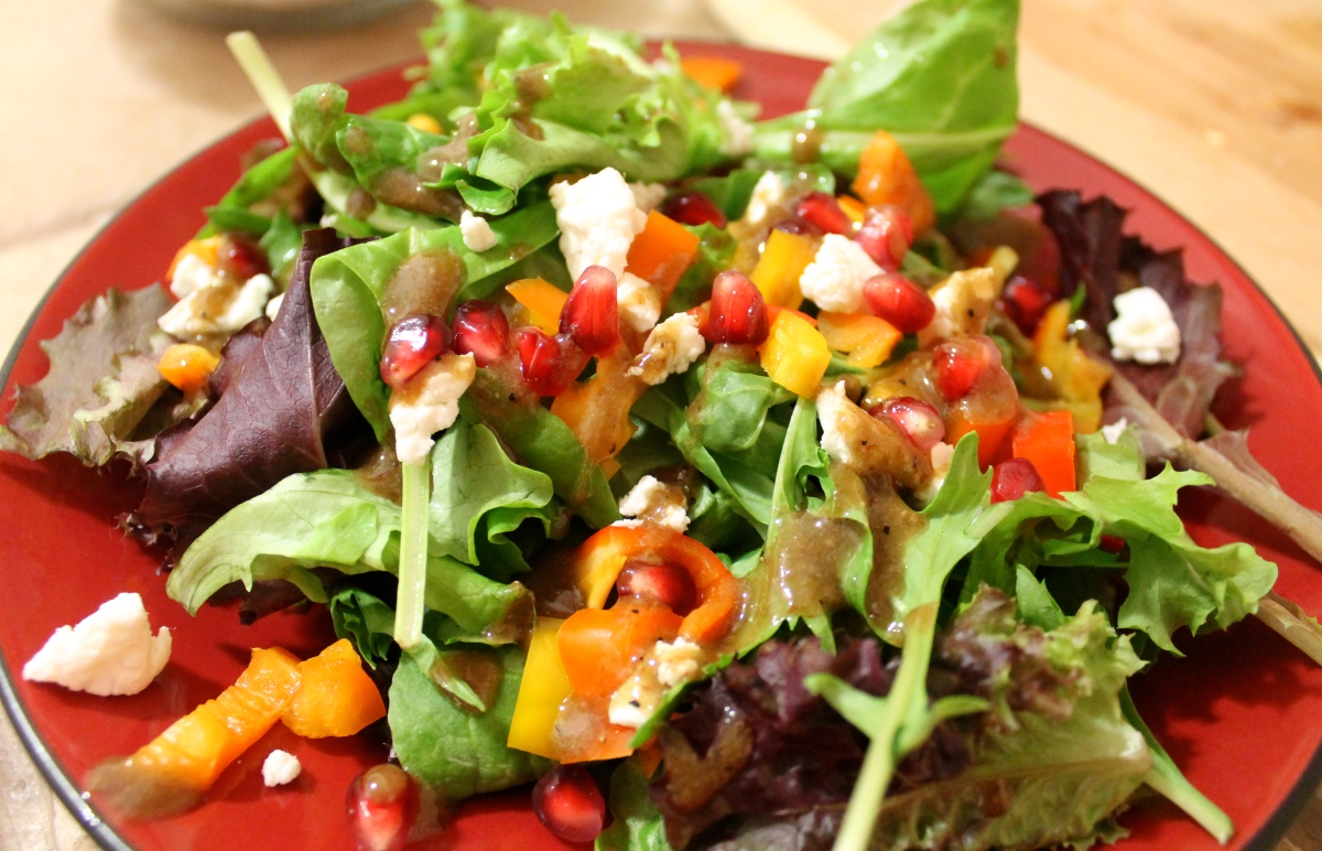 Free-for-All Friday: Tilapia with Bacon-Edamame Succotash and Pomegranate-Goat Cheese Salad