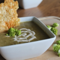 Roasted Romanesco Soup with Cayenne 'Creme Fraiche'